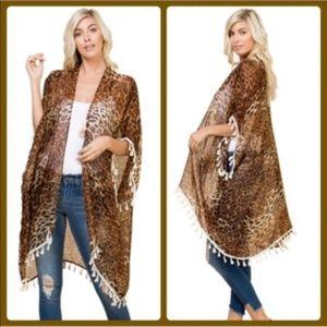 Leopard Print Kimono Cover Up